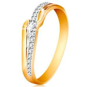 Ligotavý zlatý prsteň 585 - číry zirkón medzi koncami ramien, zirkónová vlnka - Veľkosť: 58 mm