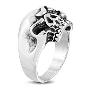 Masívny oceľový prsteň, patinovaná lebka s nahnevaným výrazom - Veľkosť: 58 mm