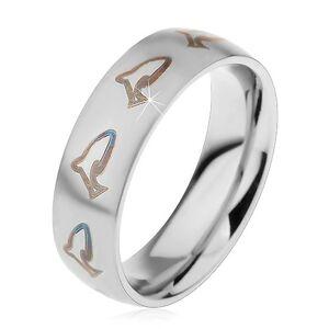 Matný prsteň z chirurgickej ocele, hnedočierne kontúry delfínov, 6 mm - Veľkosť: 54 mm