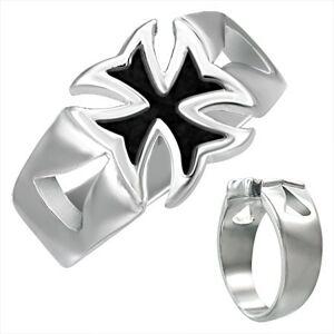 Mohutný oceľový prsteň s patinovaným maltézskym krížom - Veľkosť: 56 mm