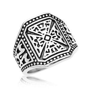 Mohutný prsteň striebornej farby, oceľ 316L, maltézsky kríž, zdobené ramená - Veľkosť: 63 mm