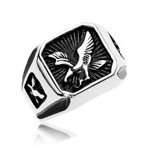 Mohutný prsteň z ocele 316L, čierny patinovaný štvorec s dravým vtákom - Veľkosť: 62 mm