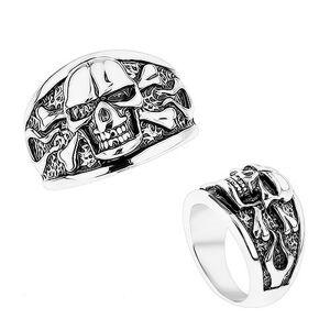 Mohutný prsteň z ocele 316L, vypuklá lebka s prekríženými kosťami, čierna patina - Veľkosť: 64 mm