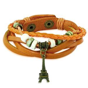 Multináramok oranžovej farby zo syntetickej kože - výplet, korálky a Eiffelova veža