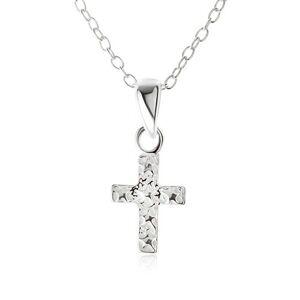 Náhrdelník - retiazka z oválnych očiek, kríž s hviezdičkami, striebro 925