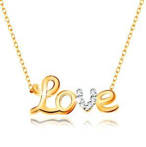 Náhrdelník v 9K zlate - dvojfarebný nápis Love, zirkóny, ligotavá tenká retiazka
