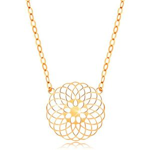 Náhrdelník v žltom 14K zlate - okrúhly vyrezávaný kvet, lesklá retiazka