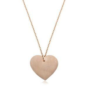 Náhrdelník z ocele 316L medenej farby, veľké matné srdce, tenká retiazka
