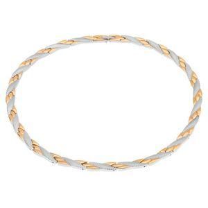 Náhrdelník z ocele, šikmé línie zlatej a striebornej farby, hadí vzor, magnety