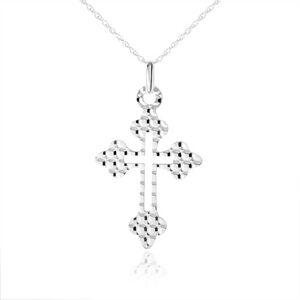 Náhrdelník zo striebra 925, kríž - ozdobné ramená, guličky na povrchu