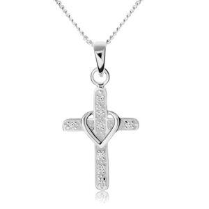 Náhrdelník zo striebra 925, kríž zdobený zirkónmi, obrys srdiečka