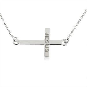 """Náhrdelník zo striebra 925, lesklý latinský kríž, nápis """"JESUS"""", jemná retiazka"""