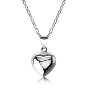 Náhrdelník zo striebra 925 - zrkadlovolesklé vypuklé srdce, retiazka z oválnych očiek