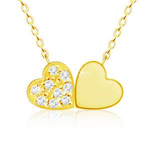 Náhrdelník zo žltého 9K zlata, drobné spojené srdiečka, číre zirkóny