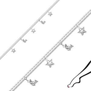 Náramok na členok z 925 striebra - zdvojená retiazka, zdobená delfínmi a hviezdicami