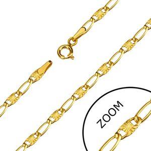 Náramok v žltom 14K zlate - dlhšie tenké očká, lúčovité zárezy, 190 mm