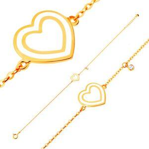 Náramok v žltom 14K zlate, prívesky - srdce s bielou glazúrou, zirkón