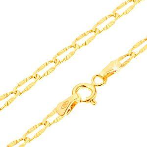 Náramok v žltom 14K zlate - sploštené očká s lúčovitým ryhovaním, 180 mm