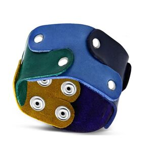 Náramok z pravej kože - puzzle dieliky spájané nitmi, dúhové farby, PRIDE