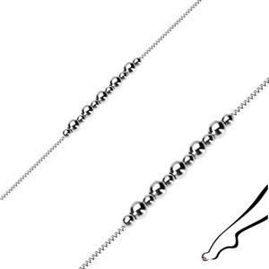 Náramok zo striebra 925 na členok - lesklé guľôčky, hranatá retiazka