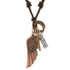 Nastaviteľný kožený náhrdelník, prívesky - anjelské krídlo, obruče, kríž a známka