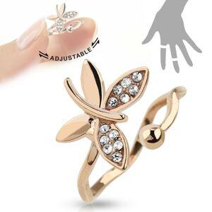 Nastaviteľný prsteň medenej farby, ligotavý motýľ, zvlnené ramená