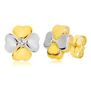 Náušnice v 14K kombinovanom zlate - symbol šťastia so zirkónom, puzetky