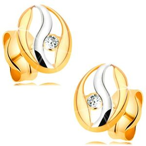 Náušnice v kombinovanom 14K zlate - obrys oválu s vlnkou z bieleho zlata, zirkónik