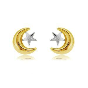 Náušnice v kombinovanom zlate 585 - polmesiačik a hviezda, puzetové zapínanie