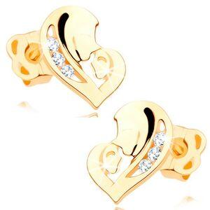Náušnice v žltom 14K zlate - asymetrické srdce z dvoch tvárí, číre zirkóny