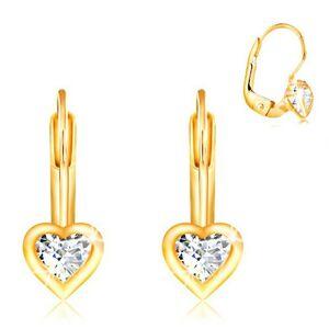 Náušnice v žltom 14K zlate - číry srdcový zirkón s lesklým lemom