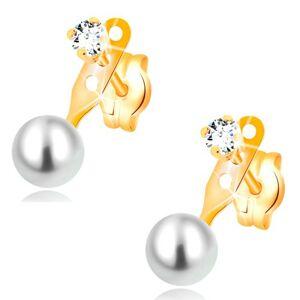 Náušnice v žltom 14K zlate, číry zirkón a guľatá biela perla, puzetky