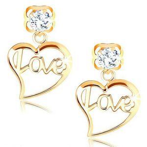 Náušnice v žltom 14K zlate - číry zirkón, obrys srdca s nápisom Love
