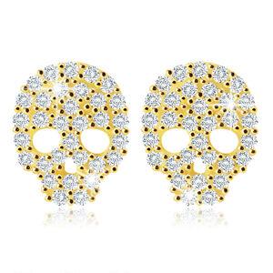 Náušnice v žltom 14K zlate - lebka so zirkónikmi v čírom odtieni