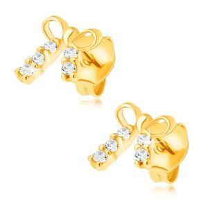 Náušnice v žltom 14K zlate - malá ligotavá mašlička, kamienky