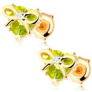 Náušnice v žltom 14K zlate - srdce zo zeleného olivínu zdobené tenkou mašličkou