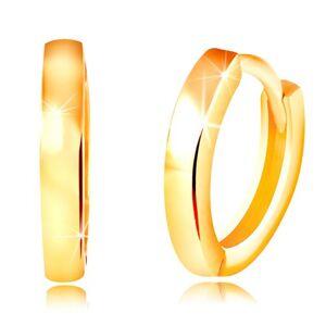 Náušnice v žltom 14K zlate - úzke ovály s lesklým hladkým povrchom