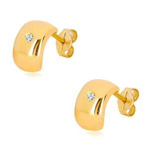 Náušnice v žltom 14K zlate - žiarivý číry diamant na širokom oblúku