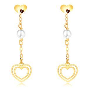 Náušnice v žltom zlate 375 - srdiečko, perla na retiazke, dvojitá srdcová kontúra