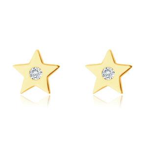 Náušnice z 9K žltého zlata - päťcípa hviezdička so zirkónom, hladký lesklý povrch