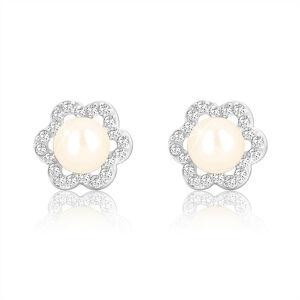 Náušnice z bieleho zlata 375 - kvet so šiestimi lupeňmi, zirkónová kontúra, biela perla