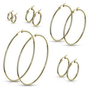 Náušnice z chirurgickej ocele - jednoduché lesklé kruhy v zlatom odtieni - Priemer: 60 mm