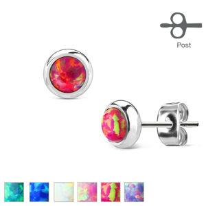 Náušnice z chirurgickej ocele - syntetický opál v objímke, rôzne farby, 6 mm - Farba: Biela