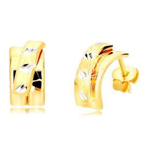 Náušnice z kombinovaného 14K zlata - širší oblúk s matným polkruhom, puzetky