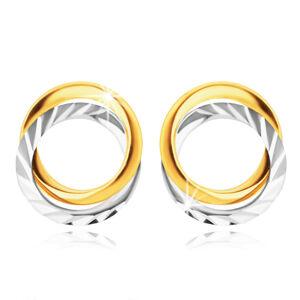 Náušnice z kombinovaného zlata 585 - dva prepletené prstence, pozdĺžne zárezy