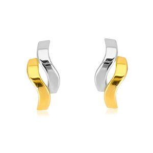 Náušnice z kombinovaného zlata 585 - lesklé dvojfarebné vlnky, puzetky