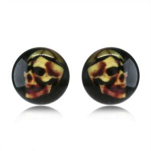 Náušnice z nehrdzavejúcej ocele - lebka na čiernom podklade, číra glazúra, puzetky