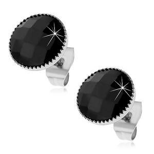 Náušnice z ocele 316L, čierny kruh s brúseným povrchom a vrúbkovaným lemom