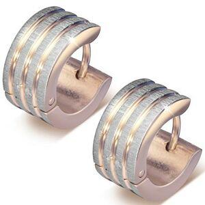 Náušnice z ocele 316L medenej farby, zvislé pásy s drsným povrchom