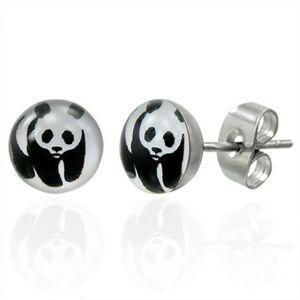 Náušnice z ocele s medvedíkom panda